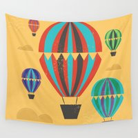 hot air balloons Wall Tapestries featuring Hot Air Balloons by Marina Design