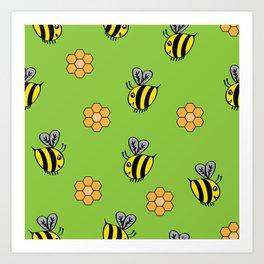 Bees Buzzing Art Print
