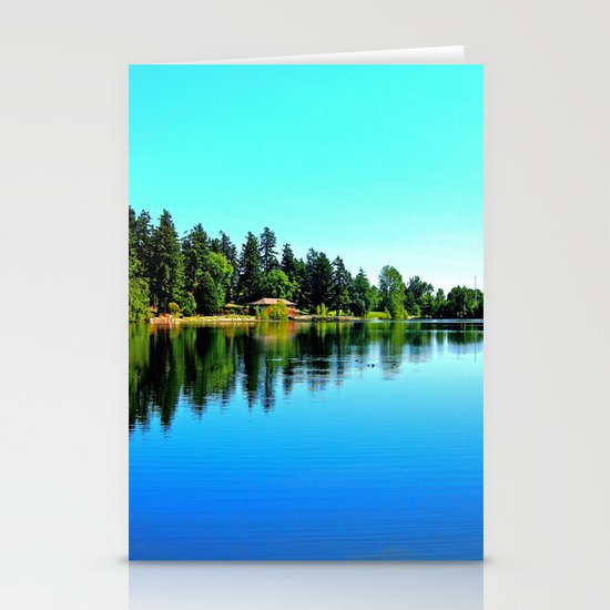 Summer lake view Stationery Cards