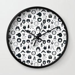 black and white Scandinavian Nursery Prints patterns Wall Clock