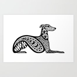 Zentangle Whippet Art Print