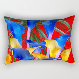 YELLOW & AZURE BLUE CALLA LILIES RED ART Rectangular Pillow