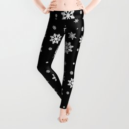 Snowflakes | Black & White Leggings