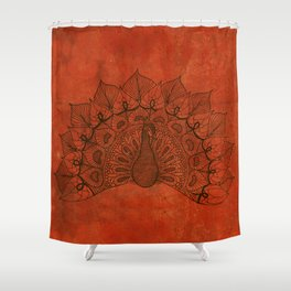 Doodle peacock on red Shower Curtain