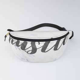 Hustle Text on Marble Black and White Fanny Pack