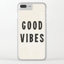 Distressed Ink Effect Good Vibes | Black on Off White Clear iPhone Case