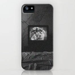 Vaporwave kiss on tv iPhone Case