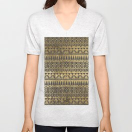 Swanky Faux Gold and Black Hand Drawn Aztec Unisex V-Neck