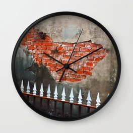 Nola Brick Crypt  Wall Clock