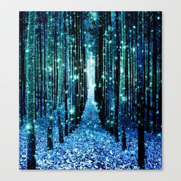 Magical Forest Teal Turquoise Canvas Print
