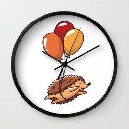 Hedgehog Balloons Wall Clock