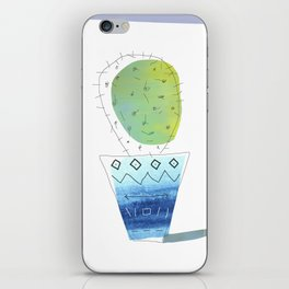 Green Cactus in Bohemian Indigo Vase iPhone Skin