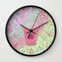 Sweetest Strawberry Smoothie Wall Clock