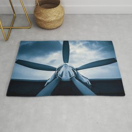 Clear Prop! A Vintage Aircraft Propeller Against The Background Of Stormy Sky Rug