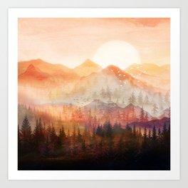Forest Shrouded in Morning Mist Art Print
