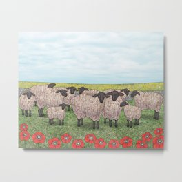 Suffolk sheep in a field with poppies Metal Print