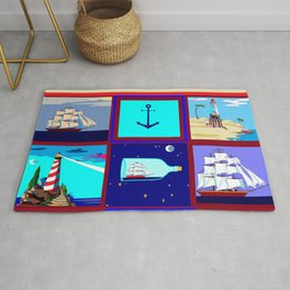 A Nautical Quilt with Ships, Lighthouses and Anchors Rug