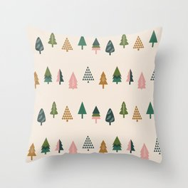 Christmas Trees (Highland) Throw Pillow