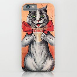 Drinking Cat-Funny Cat-Louis Wain iPhone Case