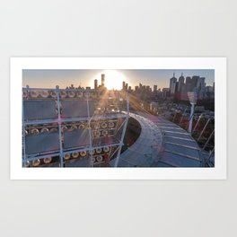 The MCG at sunset with the Melbourne city skyline in the background Art Print