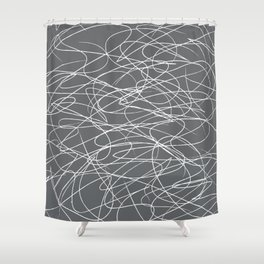 Hand Drawn Scribbles (Charcoal Grey) Shower Curtain
