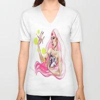 rupaul V-neck T-shirts featuring Alaska Thvnderfvk 3000 by tomatosita