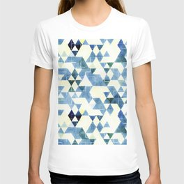 Abstract Blue Triangles, Watercolor Pattern T-shirt