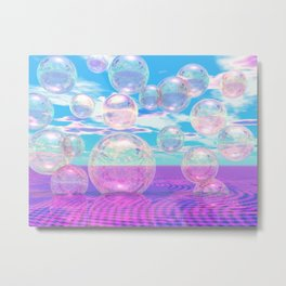 Sky Blue Pink, Abstract Summer Afternoon Watching the Clouds Metal Print