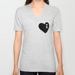 Semicolon Heart for mental health awareness Unisex V-Neck
