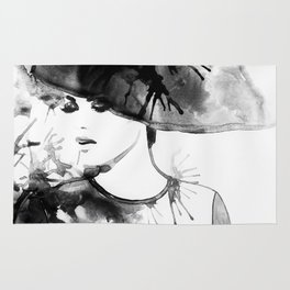 Beautiful face. woman portrait with hat. abstract watercolor. fashion background Rug