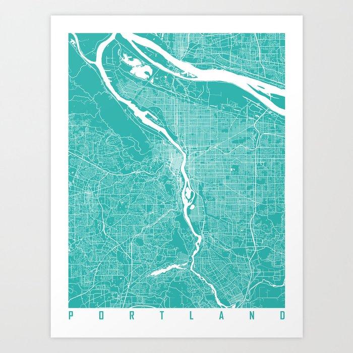 Portland map turquoise Art Print