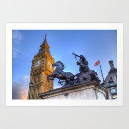 Big Ben and Boadicea Statue  Art Print