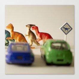 Dinosaurs crossing Canvas Print