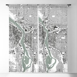 Portland, OR City Map Black/White Blackout Curtain
