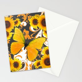 GOLDEN BUTTERFLY & SUNFLOWERS ARABESQUES Stationery Cards