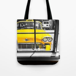 vintage yellow taxi car with black and white background Tote Bag