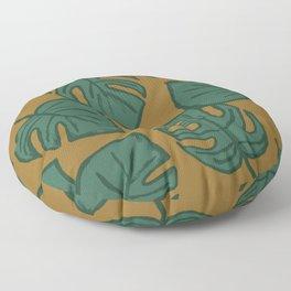 Monstera Split Leaf in Gold Floor Pillow