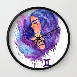Watercolor Splatter Gemini Zodiac Sign Wall Clock