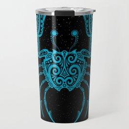 Blue Cancer Zodiac Sign in the Stars Travel Mug