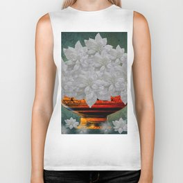 WHITE POINSETTIAS IN A BOWL Biker Tank