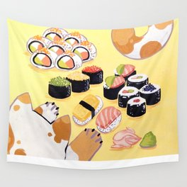 Sushi+cats=yes Wall Tapestry