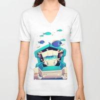underwater V-neck T-shirts featuring Underwater by Coralus