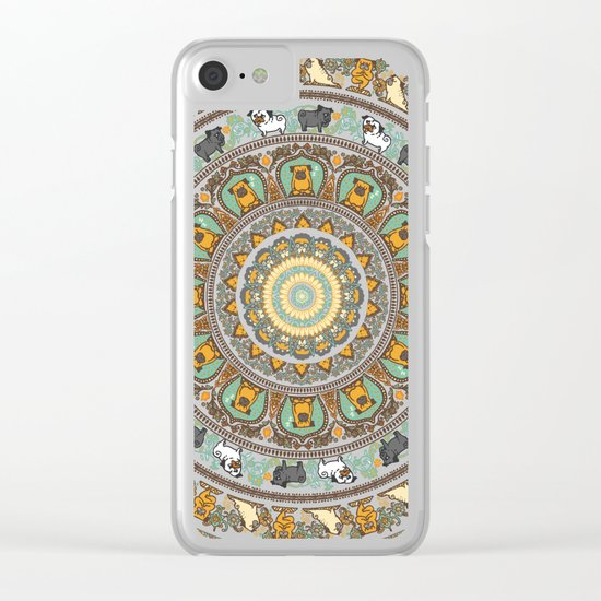 Pug Yoga Medallion Clear iPhone Case