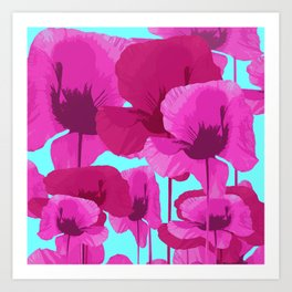Sweet Pink Poppies On A Turquoise Background Art Print