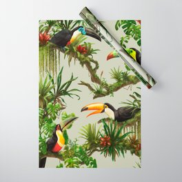 Toucans and Bromeliads (Canvas Background) Wrapping Paper