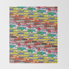 Locomotives - Rainbow by Railcolor Throw Blanket