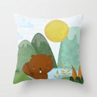 beaver Throw Pillows featuring little beaver by Proyecto Melón