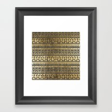 Swanky Faux Gold and Black Hand Drawn Aztec Framed Art Print