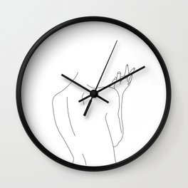 Nude figure line drawing illustration - Thelma Wall Clock