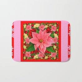 PINK SNOWFLAKES RED & PINK POINSETTIAS CHRISTMAS ART Bath Mat